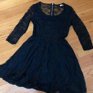 Black lace-back mini dress
